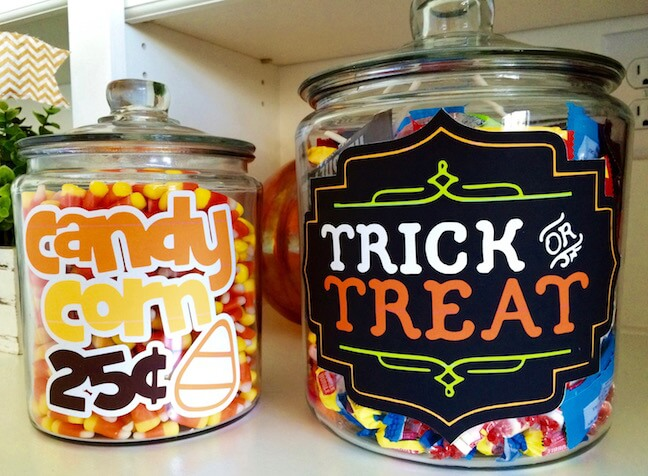 Halloween Candy Jars using printable vinyl